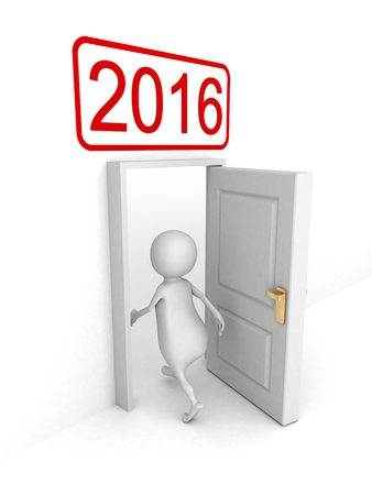 next day: White 3d Person Enterring In 2016 New Year Door. 3d Render Illustration