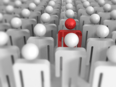 one man only: Different 3d Man Icon Out From Crowd. Leadership Concept 3d Render Illustration