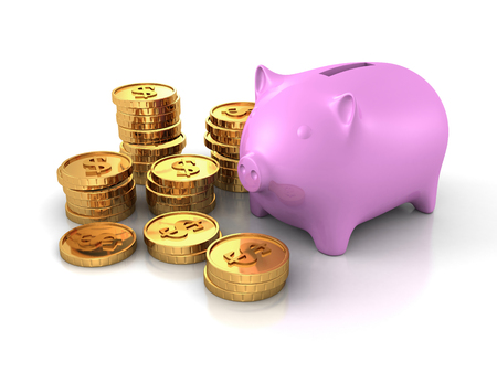 one us dollar coin: Piggy Money Bank With Piles Of Dollar Currency Golden Coins. 3d Render Illustration