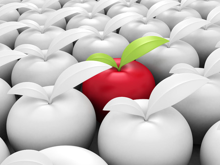 incompatible: Different Red Apple Out From Others White. 3d Render Illustration Stock Photo