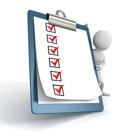 the clipboard: Blanco Persona 3d con una Lista de Tareas Comprobar Portapapeles. 3d hacer ilustración Foto de archivo
