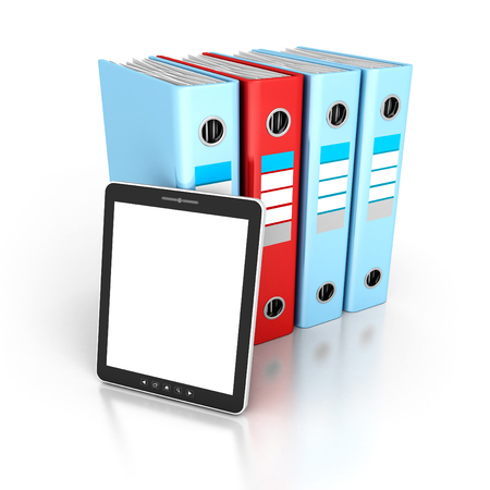 ring binders: Tablet PC With Office Ring Binders. 3d Render Illustration Stock Photo