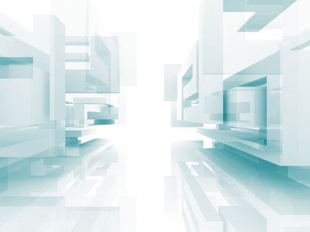 Abstract Architecture White Building Design Background. 3d Render Illustration Stock Photo