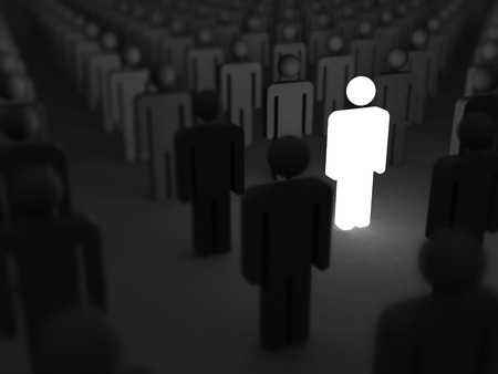 stand out: Shining Human Icon. Stand Out From Crowd and Different Concept 3d Render Illustration Stock Photo