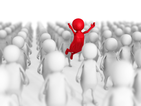 group icon: Different 3d Person Out From Crowd. Leadership Concept 3d Render Illustration Stock Photo