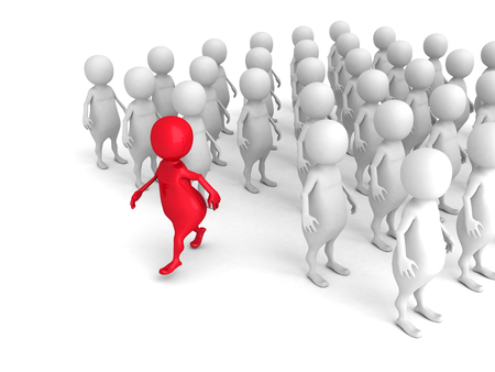 individuality: Red 3d Person Out From Crowd. Individuality Leadership Concept 3d Render Illustration