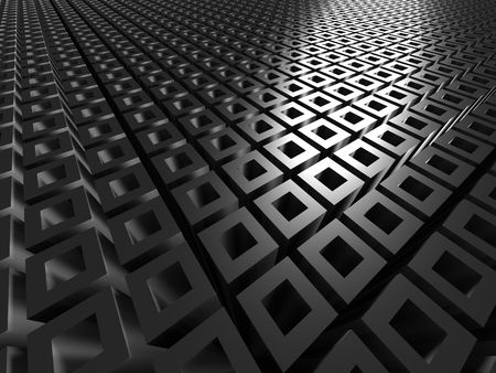 Abstract Dark Metallic Silver Cubes Background. 3d Render Illustration