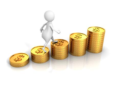 gold bar earn: White 3d Man Steps On Success Dollar Coins Bar Chart. 3d Render Illustration Stock Photo
