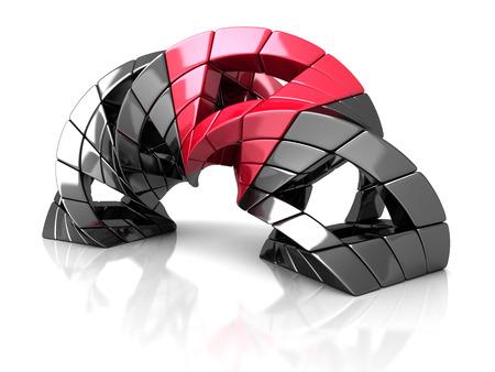 distort: Abstract Metallic Cube Shape Object. 3d Render Illustration Stock Photo