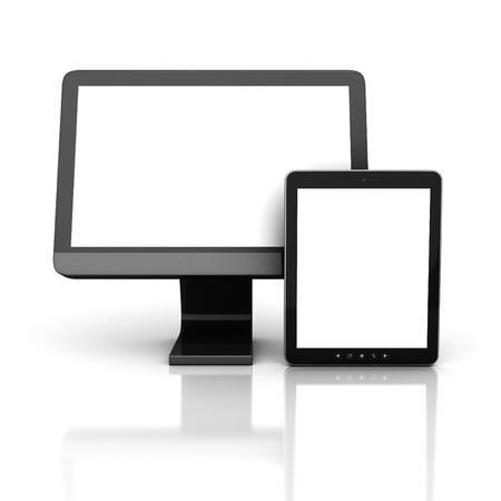computer screen: Computer Monitor With Tablet PC. 3d Render Illustration Stock Photo