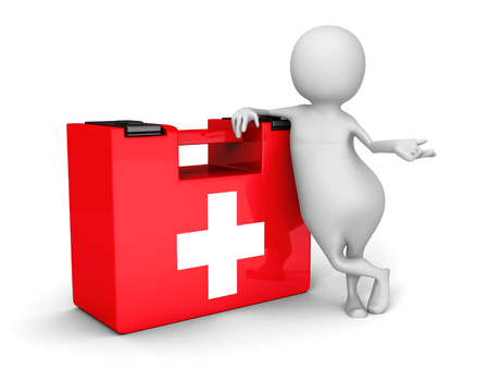 White 3d Man With Red First Aid Medical Kit. 3d Render Illustration