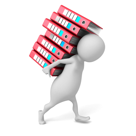 ring binders: White 3d Person Carries Pile Of Ring Binders. 3d Render Illustration Stock Photo