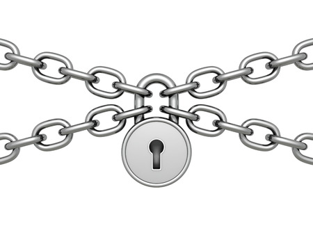 inaccessible: Heavy Iron Padlock with Chain On White Background. 3d Render Illustration