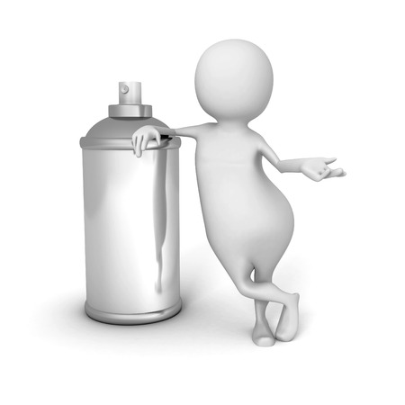 spray paint can: White 3d Man With Spray Paint Can. 3d Render Illustration