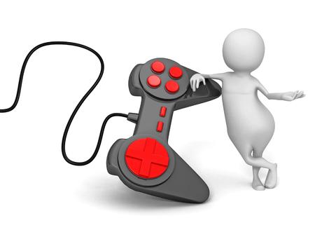 3d person: White 3d Person With Joystick Controller. 3d Render Illustration