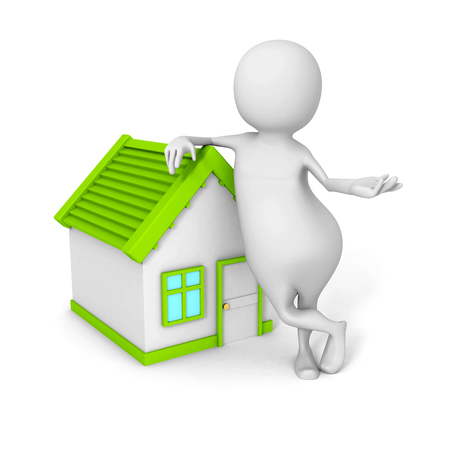 realtor: White 3d Realtor Person With Little House. 3d Render Illustration Stock Photo