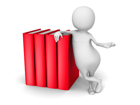 person reading: White 3d Person With Red Books. 3d Render Illustration