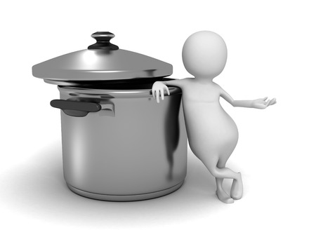 saucepan: Abstract White 3d Person With saucepan. 3d Render Illustration Stock Photo