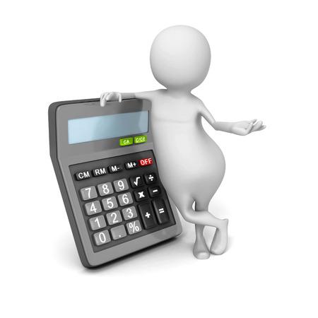 nombres: R�sum� personne 3d avec la calculatrice. 3d Render Illustration