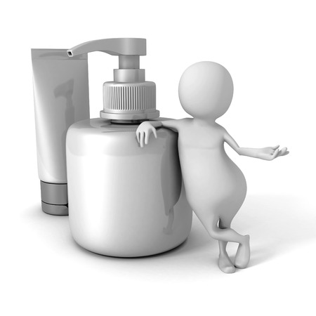 cosmetic product: White 3d Man With Cosmetic Tube And Bottle Of Cream. 3d Render Illustration