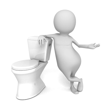 defecate: Abstract White 3d Person With Toilet. 3d Render Illustration