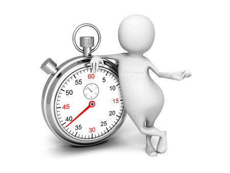 elapsed: White 3d Man With Classic Silver Stopwatch. 3d Render Illustration