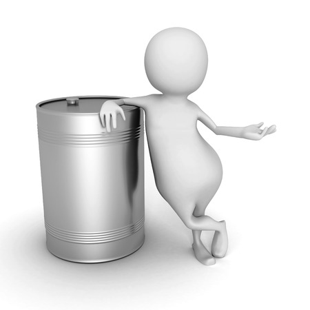 nafta: White 3d Man With Metallic Oil Barrel. 3d Render Illustration Stock Photo