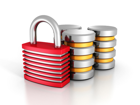 Database Security Concept With Padlock. 3d Render Illustration