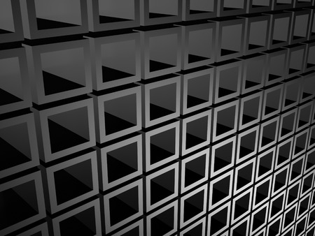 meshed: Abstract Dark Metallic Silver Cubes Background. 3d Render Illustration