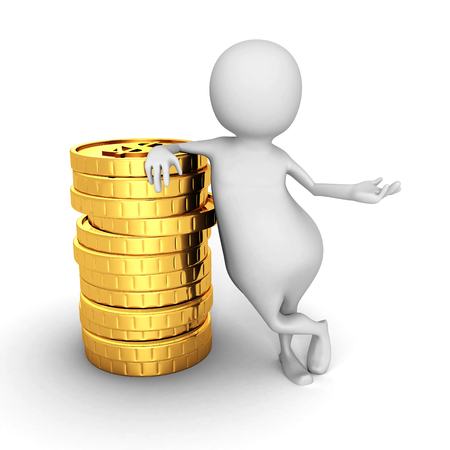 grow money: White 3d Person With Stack Of Golden Dollar Coins. 3d Render Illustration