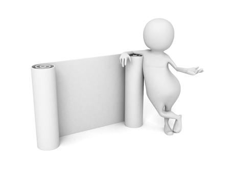 White 3d Man With Paper Band Scroll. 3d Render Illustration