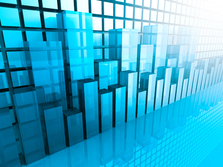 abstract background: Stock Market Graph and Bar Chart. Business Background. 3d Render Illustration Stock Photo
