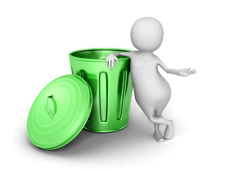 utilize: 3d small person with green trash can. 3d render illustration Stock Photo