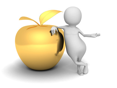 golden apple: White 3d Man With Golden Apple. Success Concept 3d Render Illustration