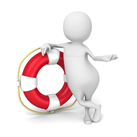 Abstract White 3d Man With Red Life Buoy. 3d Render Illustration Stock Photo