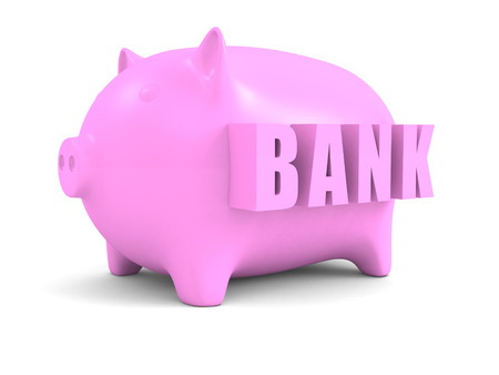 coin bank: Concept Pink Piggy Coin Bank. 3d Render illustration