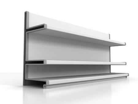 store front: Supermarket Shelves On White Background. 3d Render Illustration