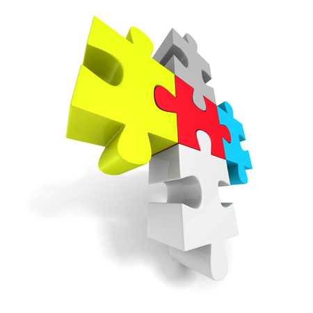 jig saw puzzle: Colorful Jigsaw Puzzle Concept Icon. 3d Render Illustration Stock Photo