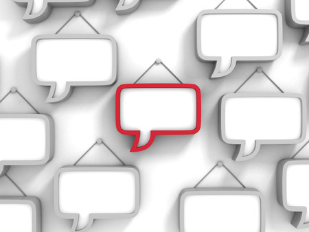 bubble background: Different Red Speech Bubble On White Wall. 3d Render Illustration Stock Photo