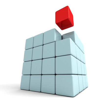 leadership: Red Different Leader Concept Cube Block. 3d Render Illustration