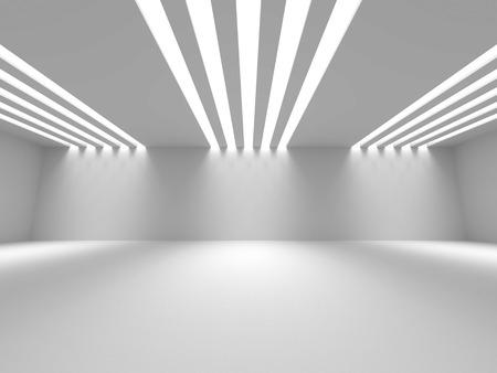 Empty Room Interior White Background. 3d Render Illustration