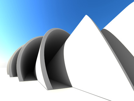 modern architecture: Abstract Architecture Object Outdoor Background. 3d Render Illustration Stock Photo