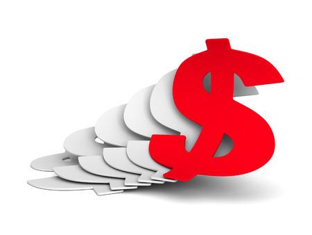 achivement: Growing Currency Dollar Symbols CBusiness Achivement Concept. 3d Render Illustration