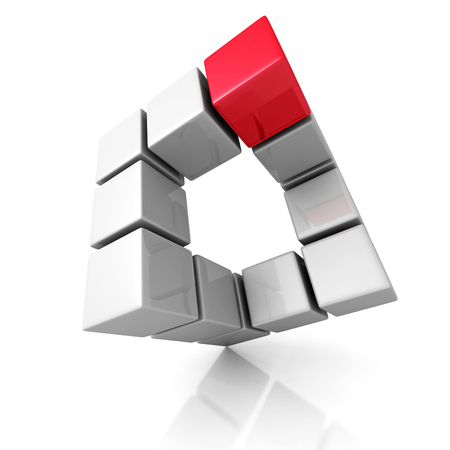 building block: Abstract Cubes Construction With Different Red One. 3d Render Illustration