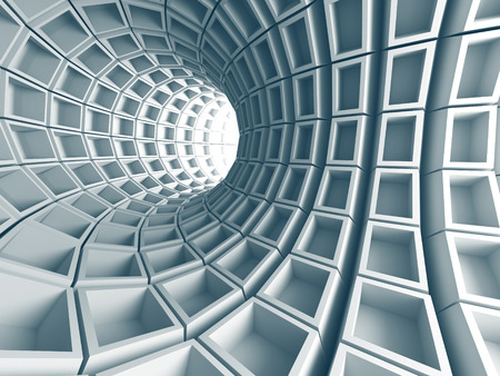whirl: Abstract Architecture Tunnel With Light Background. 3d Render Illustration