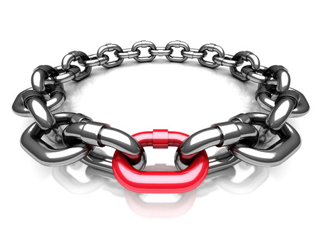steel chain: Red Different Chain Link. Teamwork Concept 3d Render Illustration