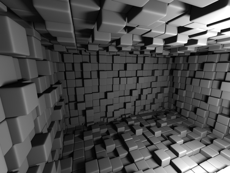 Abstract Dark Cubes Wall Room Background. 3d Render Illustration