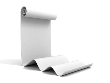 rouleau: blank scroll of white paper. 3d render illustration