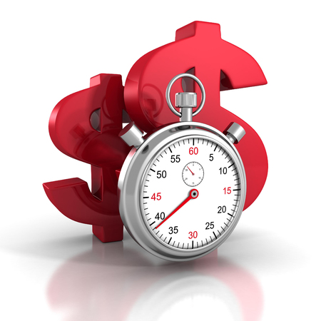 red sign: time stopwatch with big red dollar symbols. 3d render illustration