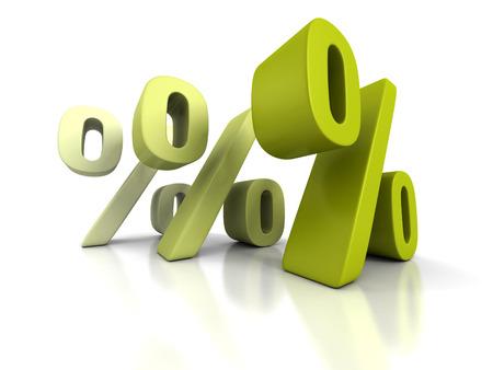 economic interest: Three Green Percent Symbols On White Background. 3d Render Illustration Stock Photo